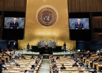 RECEP Tayyip Erdogan berucap pada Perhimpunan  Agung Pertubuhan Bangsa-Bangsa Bersatu (UNGA) ke-76 di New York. – AFP