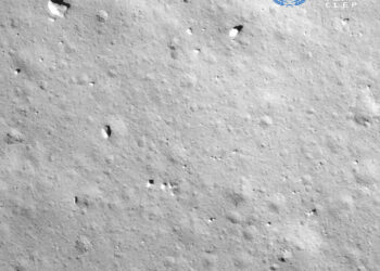 This picture taken on December 1, 2020 and released on December 2, 2020 by the China National Space Administration (CNSA) via CNS shows an image taken by the camera attached to the Chang'e-5 spacecraft during its landing process on the moon. - An unmanned Chinese spacecraft landed on the Moon on December 1, state media reported, the latest milestone in a mission to collect samples from the lunar surface. (Photo by - / China National Space Administration (CNSA) via CNS / AFP) / China OUT