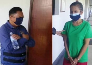 JAPERI NOOR dan ROHANI dibawa ke Mahkamah Sesyen Kuala Lumpur bagi menghadapi pertuduhan menyeludup migran di kuarters penjawat awam di Putrajaya. UTUSAN/NORLIZAH ABAS