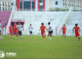 AKSI Kelantan FC ketika menentang Terengganu FC II kelmarin. - IHSAN TRW KELANTAN FC
