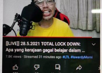 TANGKAP layar video Iswardy Morni dalam laman rasmi Youtube yang didakwa berbaur hasutan dan menghina Agong.